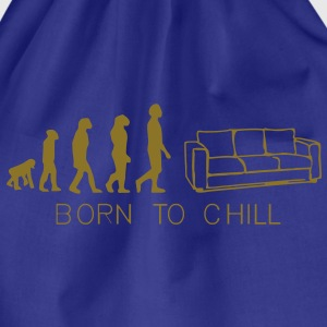 evoulution man, Born to chill, couch, sofa, divan, lying, couch, bed, evolution, T-shirts. - Drawstring Bag
