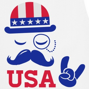 I love heart fashionable American vintage Sir with moustache USA flag bowler for sports championship pride election vote America t-shirts T-Shirts - Cooking Apron