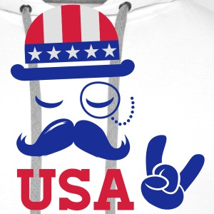 I love heart fashionable American vintage Sir with moustache USA flag bowler for sports championship pride election vote America t-shirts T-Shirts - Men's Premium Hoodie