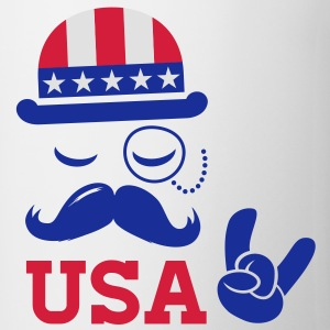 I love heart fashionable American vintage Sir with moustache USA flag bowler for sports championship pride election vote America t-shirts T-Shirts - Mug