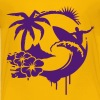 Surfing graffiti - Palm, hibiscus, island, wave and surfer with surfboard  Kids' Shirts - Kids' Premium T-Shirt