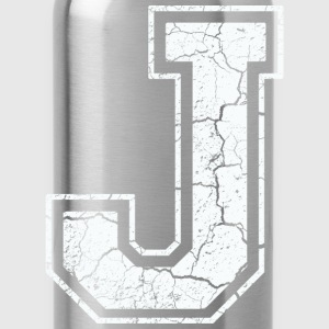 Letter J in white in the used look T-Shirts - Water Bottle