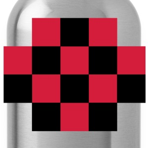 RED TARTAN gingham simple squares shape decoration Shirts - Water Bottle