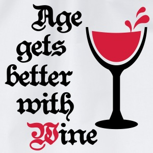Age gets better with Wine 2c Wein Gag Humor T-Shirts - Drawstring Bag