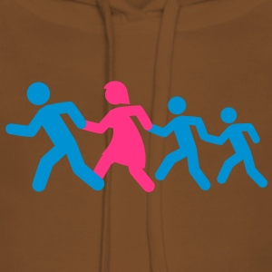 running_family_with_two_boys T-shirts - Vrouwen Premium hoodie