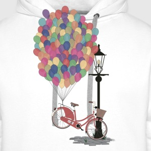 Weiß Love to Ride my Bike with Balloons T-Shirts - Männer Premium Hoodie