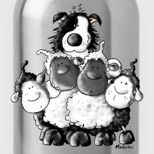 Border Collie and sheep - dog - t-shirt design T-Shirts - Water Bottle