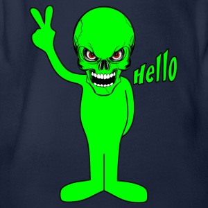 green alien skull Shirts - Organic Short-sleeved Baby Bodysuit