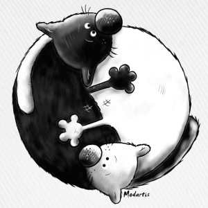 Black and White - Yin Yang -Katzen - Baseballkappe
