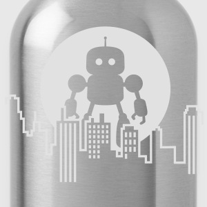 Robot City Skyline Camisetas - Cantimplora