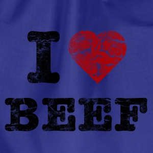 I Love Beef vintage dark T-Shirts - Drawstring Bag