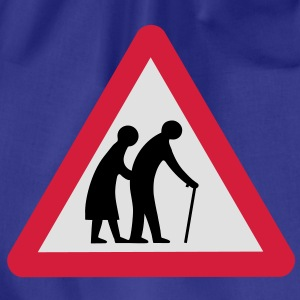 Caution Old People Crossing Traffic Sign T-Shirts - Drawstring Bag