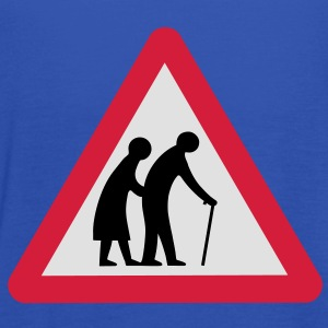 Caution Old People Crossing Traffic Sign T-Shirts - Women's Tank Top by Bella