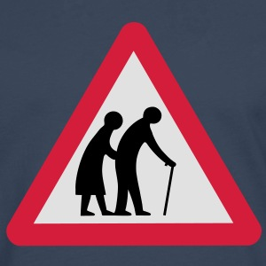 Caution Old People Crossing Traffic Sign T-Shirts - Men's Premium Longsleeve Shirt