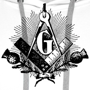 freemason symbol, masonic square & compass T-Shirts - Men's Premium Hoodie