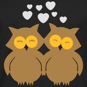 Lovely Owls in Love T-shirts - Långärmad premium-T-shirt herr
