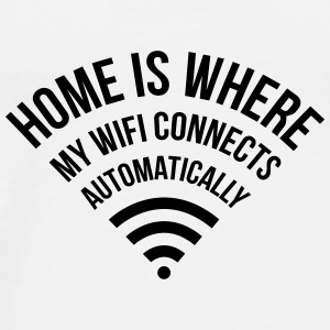 WIFI home is where my wifi connects automatically Bags & Backpacks - Men's Premium T-Shirt