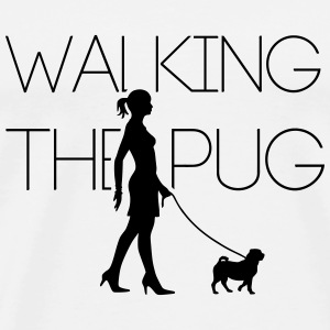 Walking the Pug 1C Langarmshirts - Männer Premium T-Shirt