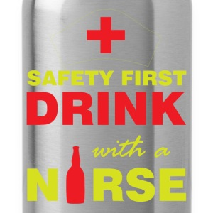 Safety first, drink with a nurse - Water Bottle