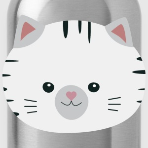 Black and white tiger cat Shirts - Water Bottle