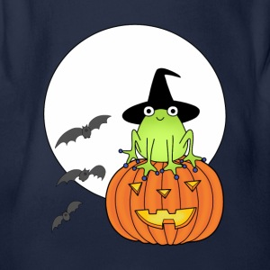 Witch frog on pumpkin t-shirt for kids - Organic Short-sleeved Baby Bodysuit