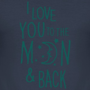 Jeansblå I LOVE YOU TO THE MOON & BACK Sweatshirts - Herre Slim Fit T-Shirt