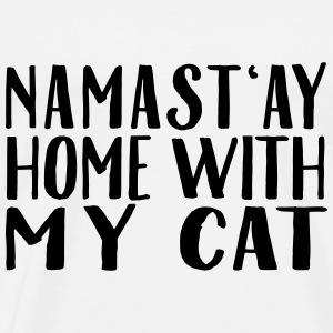 Namast'ay Home With My Cat Topper - Premium T-skjorte for menn