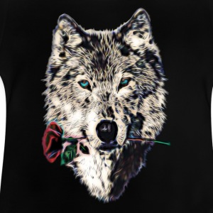 Wolf, wolves, animal, wild, blue eyes, rose Shirts - Baby T-shirt
