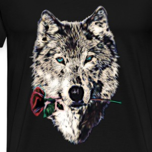 Wolf, wolves, animal, wild, blue eyes, rose Hoodies & Sweatshirts - Men's Premium T-Shirt
