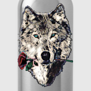 Wolf, wolves, animal, wild, blue eyes, rose Maglie a manica lunga - Borraccia