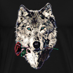 Wolf, wolves, animal, wild, blue eyes, rose Long Sleeve Shirts - Men's Premium T-Shirt