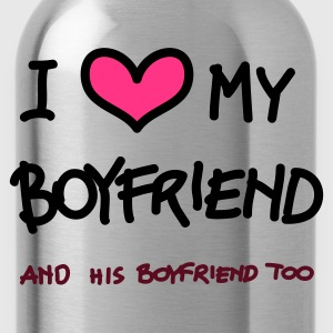 Nero i love my boylfriend, and his boyfriend too (a mano) T-shirt - Borraccia