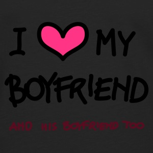 Nero i love my boylfriend, and his boyfriend too (a mano) Pullover - Maglietta Premium a manica lunga da uomo