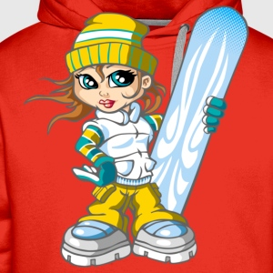 Snow girl and blue snowboard - Sweat-shirt à capuche Premium pour hommes