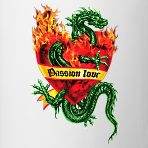 Passion Love - Tatoo Drache / Herz Flammen / Dragon in the Fire Heart Tattoo Männer Kapuzenpullover - Tasse