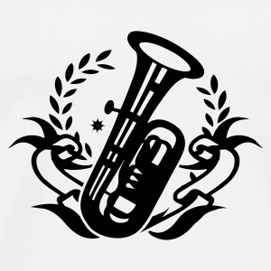 White Tuba wind instrument for marching band Buttons - Men's Premium T-Shirt
