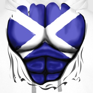 Scotland Flag Ripped Muscles, six pack, chest apro - Men's Premium Hoodie
