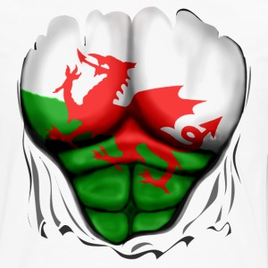 Wales Flag Ripped Muscles, six pack, chest apron - Men's Premium Longsleeve Shirt