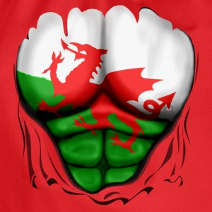 Wales Flag Ripped Muscles, six pack, chest t-shirt - Drawstring Bag