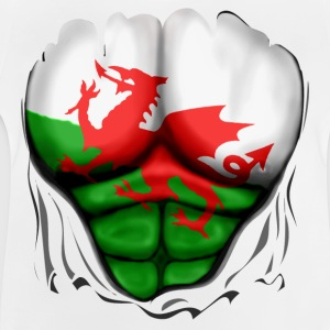 Wales Flag Ripped Muscles, six pack, chest t-shirt - Baby T-Shirt