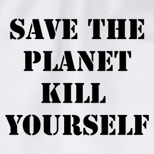 Wit/zwart save the planet kill yourself T-shirts - Gymtas