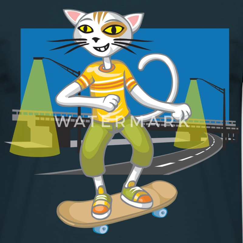 Chat et skateboard - T-shirt Homme