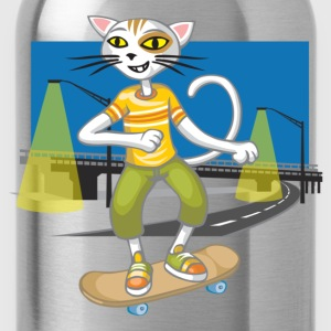Chat et skateboard - Gourde
