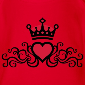 Rot tribal_heart_b_2c Kinder T-Shirts - Baby Bio-Kurzarm-Body