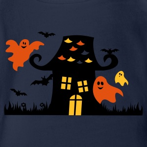 King's blue Halloween Ghosts Cute Child Kids' Tops - Organic Short-sleeved Baby Bodysuit