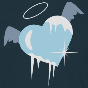 Cold heart with a halo, wings and icicles  Aprons - Men's T-Shirt