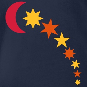 Royal blue moon and stars Kids' Tops - Organic Short-sleeved Baby Bodysuit