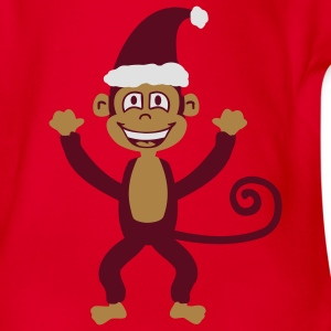Christmas Monkey Kids' Shirts - Organic Short-sleeved Baby Bodysuit