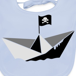 A paper boat with a pirate flag Kids' Shirts - Baby Organic Bib