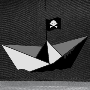 A paper boat with a pirate flag Umbrellas - Snapback Cap